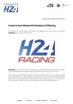 A team is born! MissionH24 introduces H24Racing. Press Kit EV.