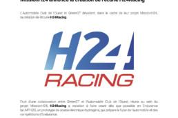 MissionH24 annonce la création de l'écurie H24Racing. Dossier de Presse VF.