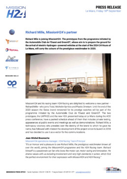 20200918 Press Release - Richard Mille joins MissionH24.